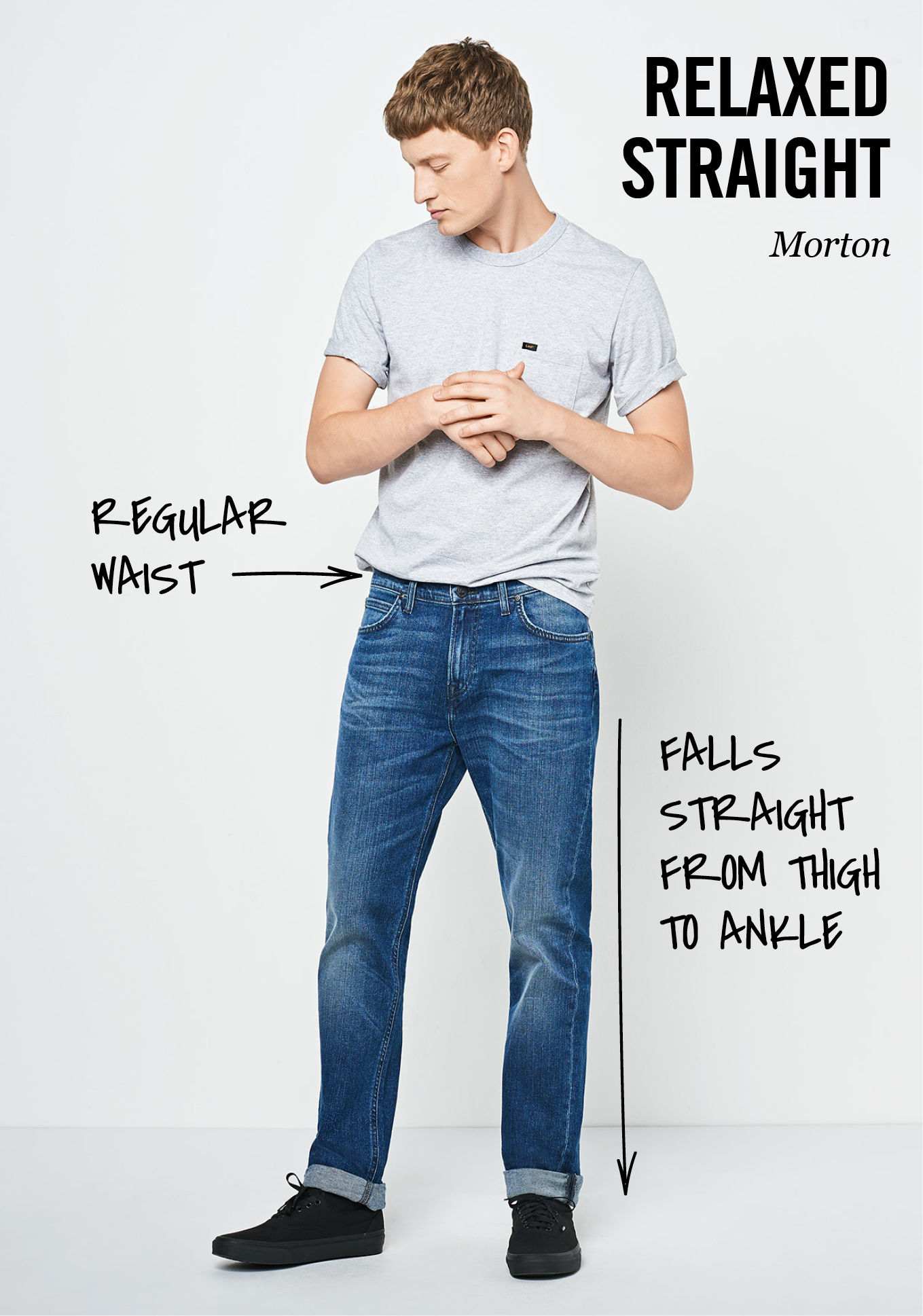 Lee fit guide of Morton relaxed straight: regular waist, falls straight from thigh to ankle